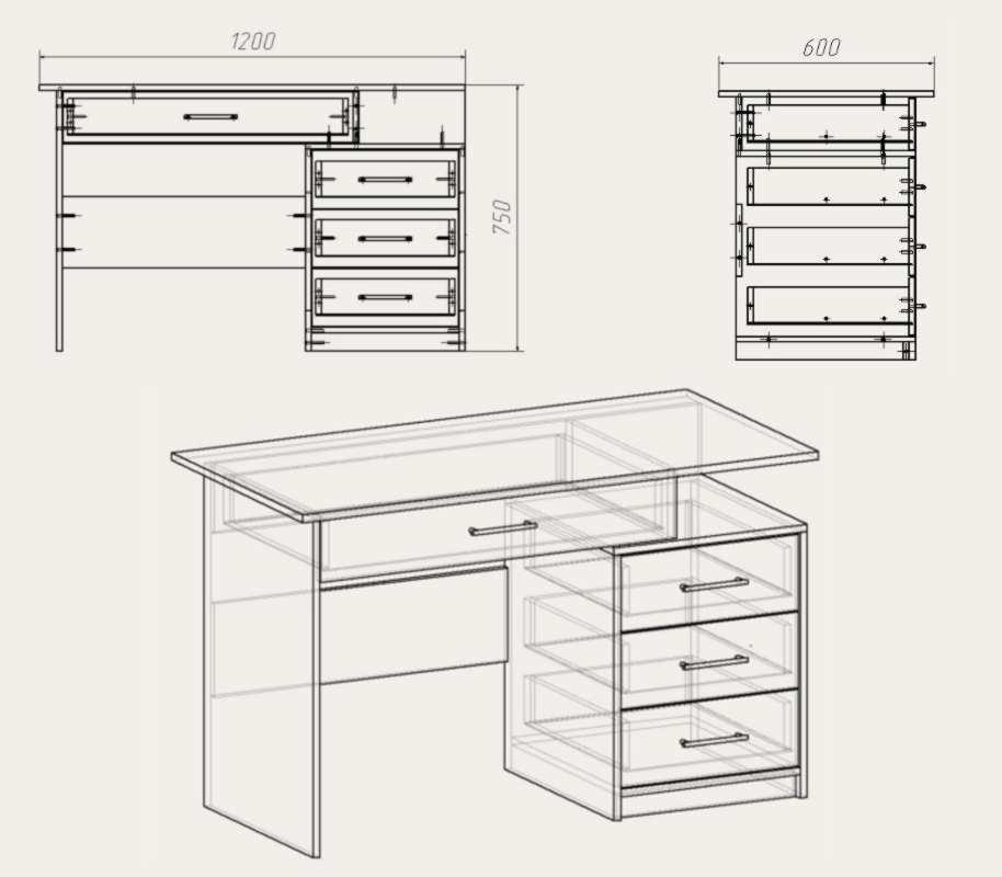 Схемы выдвижных столов